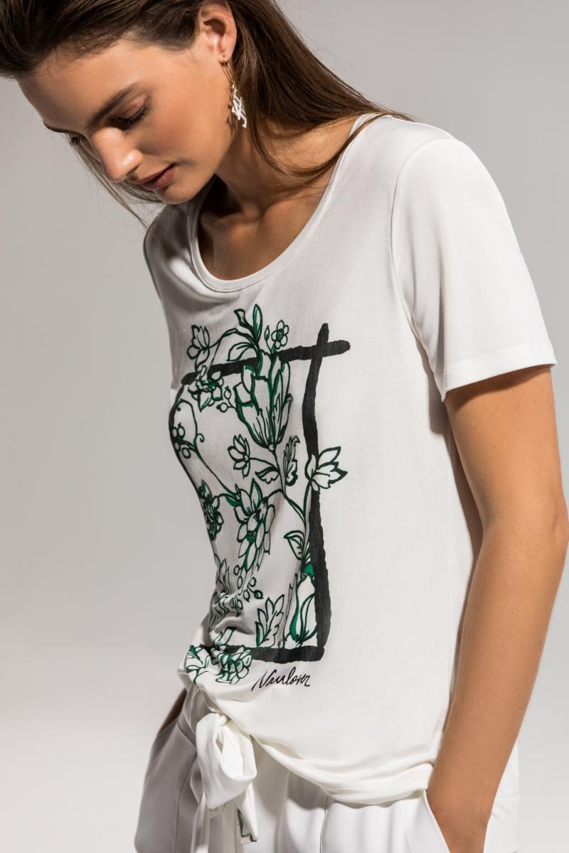 Camiseta blanca estampado floral Naulover